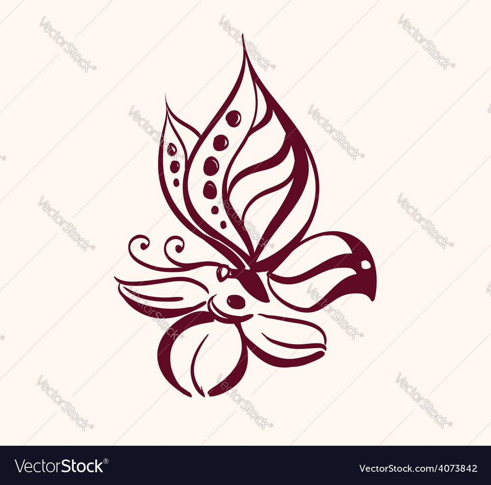 Abstract butterfly on flower vector