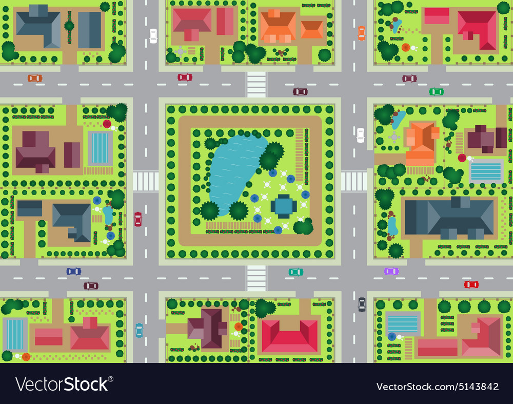 Village and park view from top vector