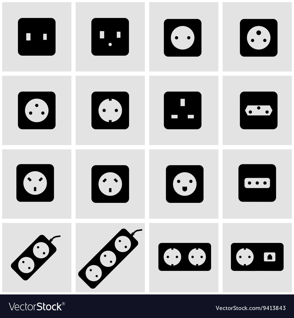 Black power socket icon set vector