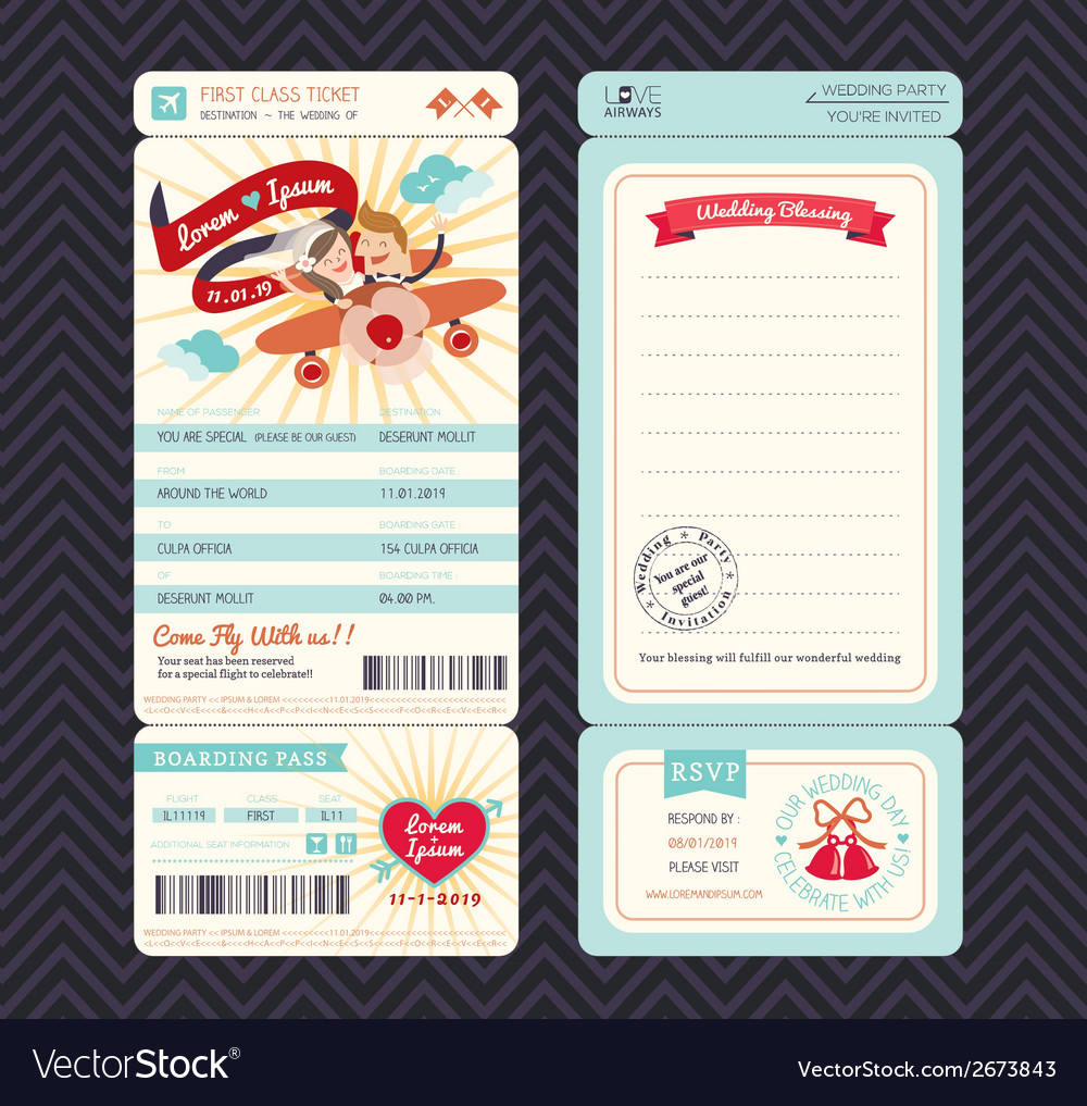 Cartoon boarding pass ticket wedding invitation te vector