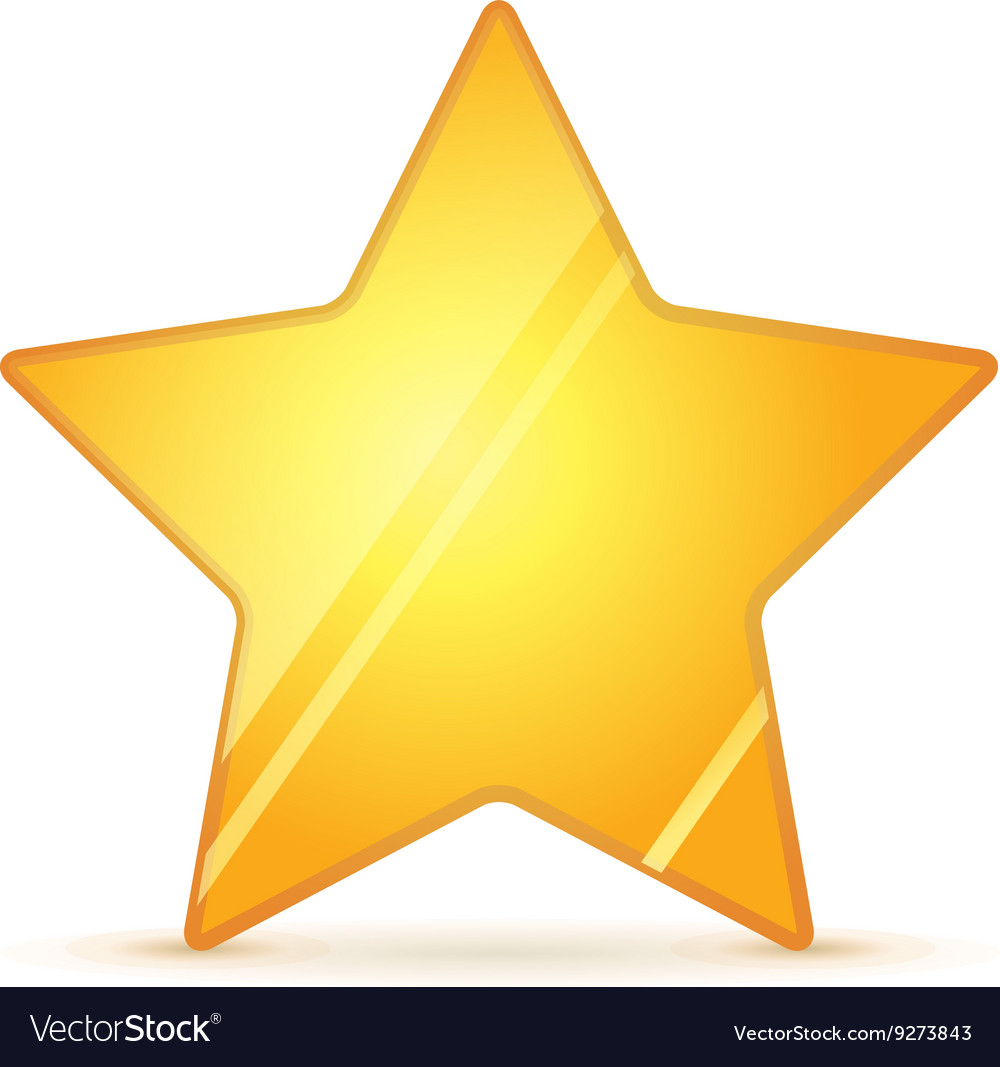 Glossy golden rating star with shadow on white vector