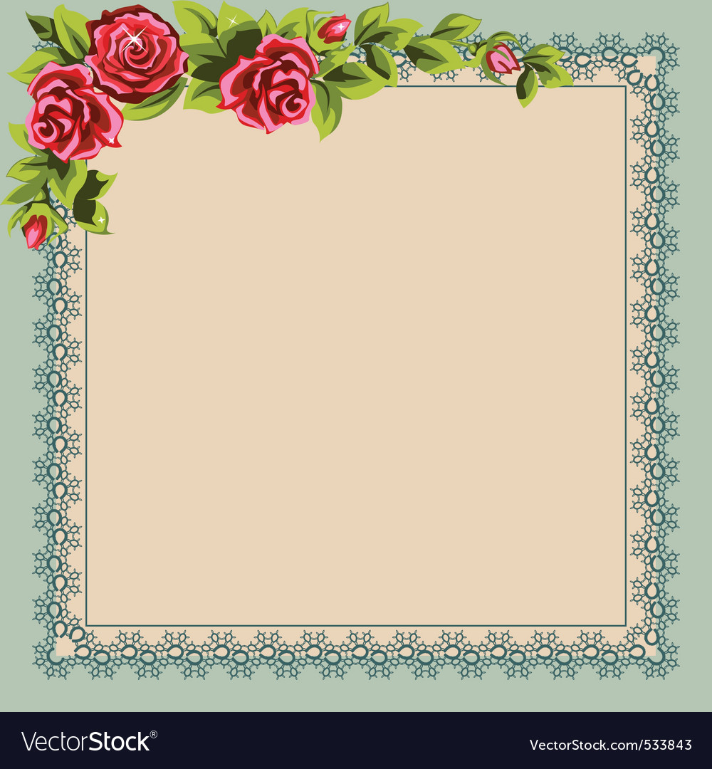 Vintage napkin and a bouquet of roses place for yo vector