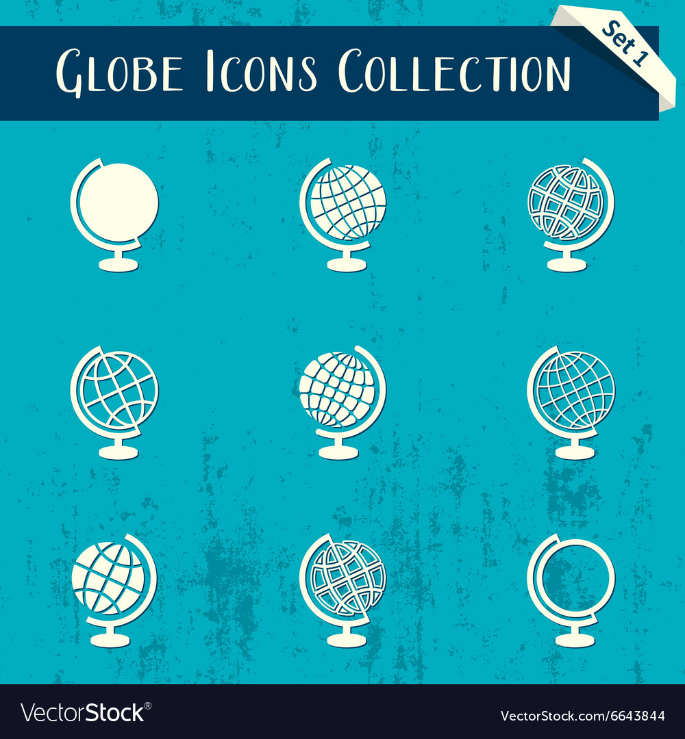 Globe icons retro collection vector