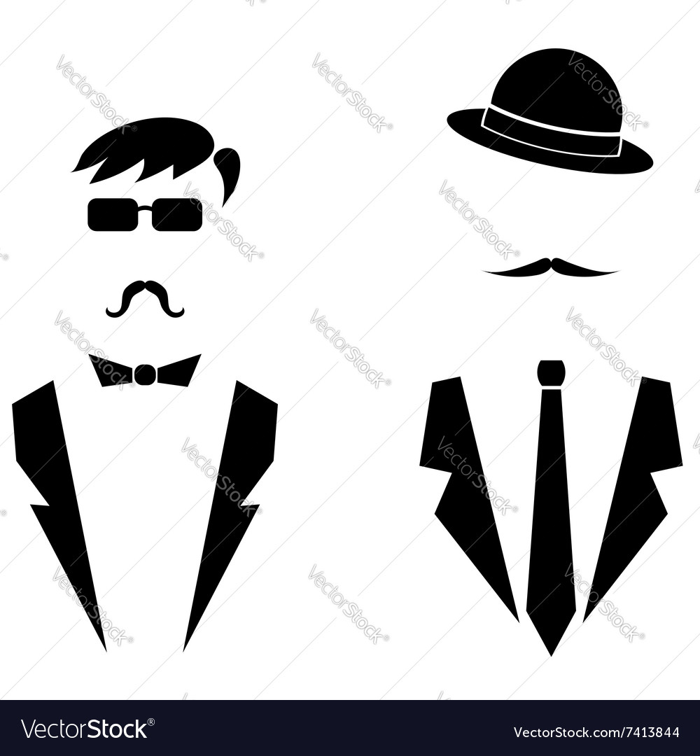 Men icons isolated vector