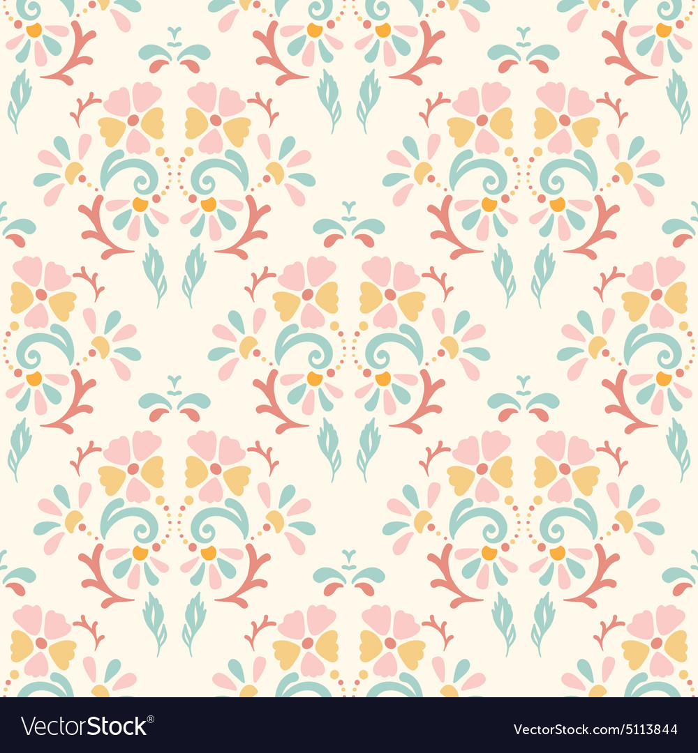 Seamless retro pattern of different colored flower vector