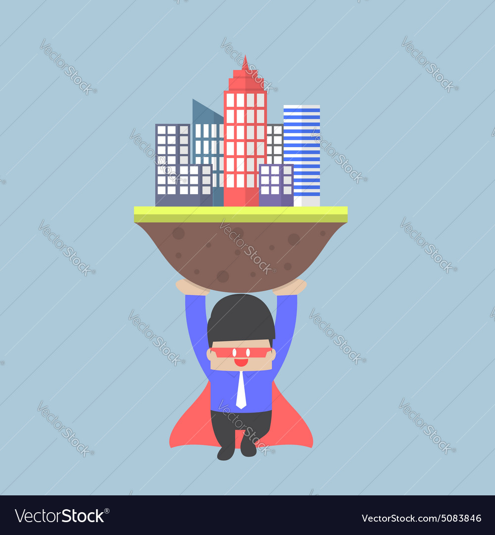 Super businessman carrying the city vector