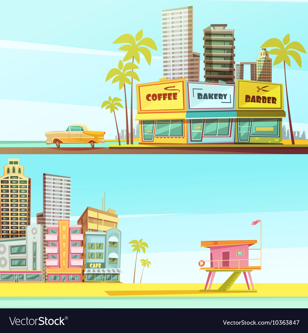 Miami beach horizontal banners vector