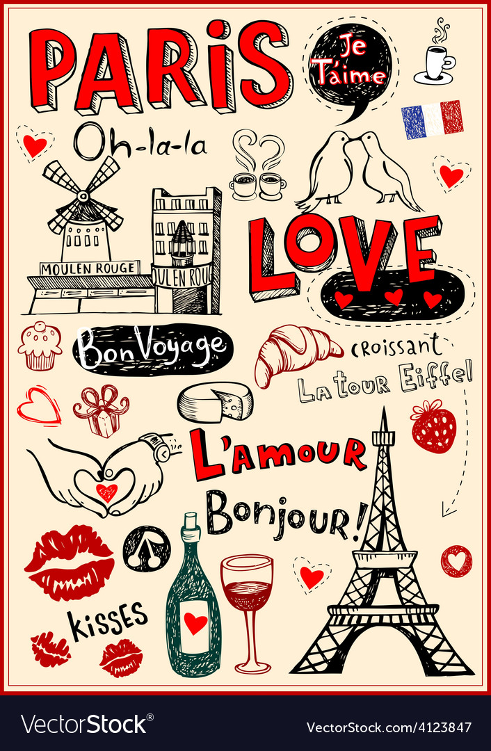 Paris love doodles vector