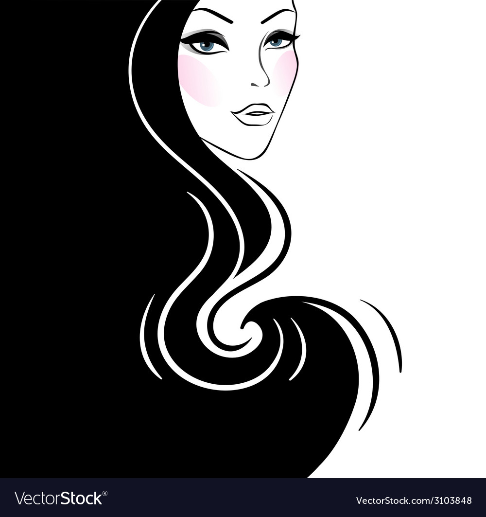 Beautiful womans silhouette vector