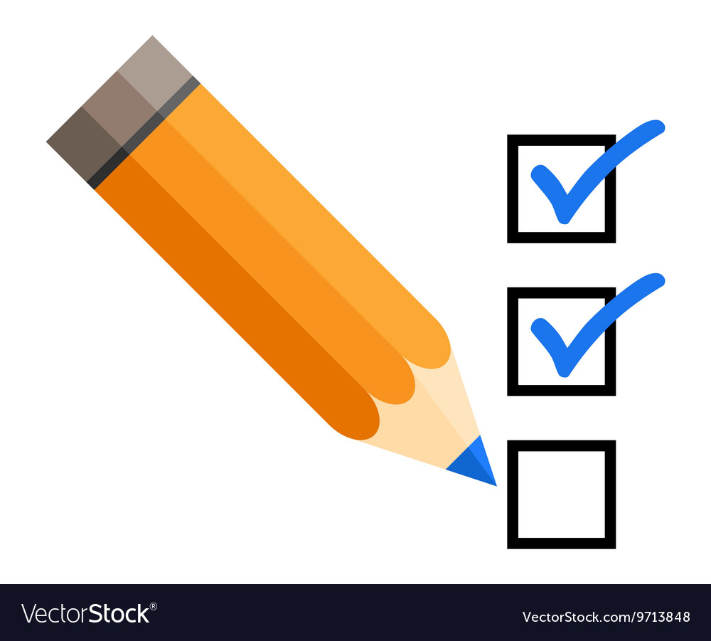 Checklist with a pencil checking off tasks vector
