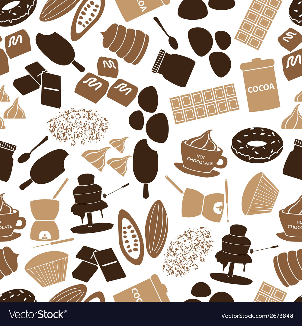 Chocolate icons seamless color pattern eps10 vector