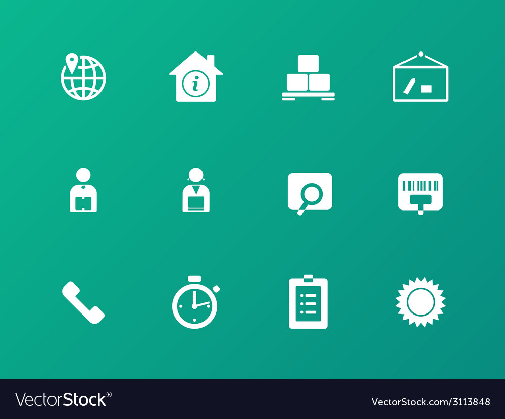 Logistics icons on green background vector