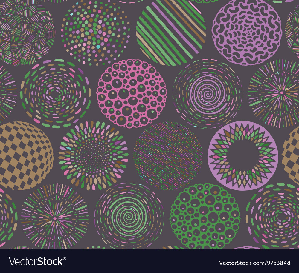 Seamless pattern with hand drawn fancy circle vector