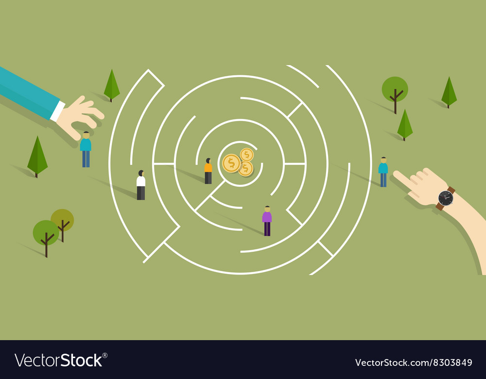Maze business labyrinth challenge vector