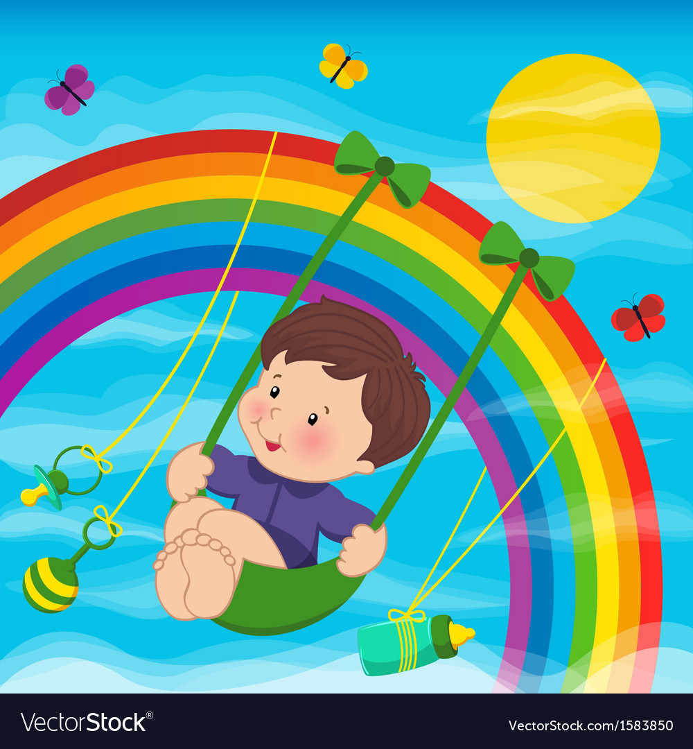 Baby on the rainbow vector