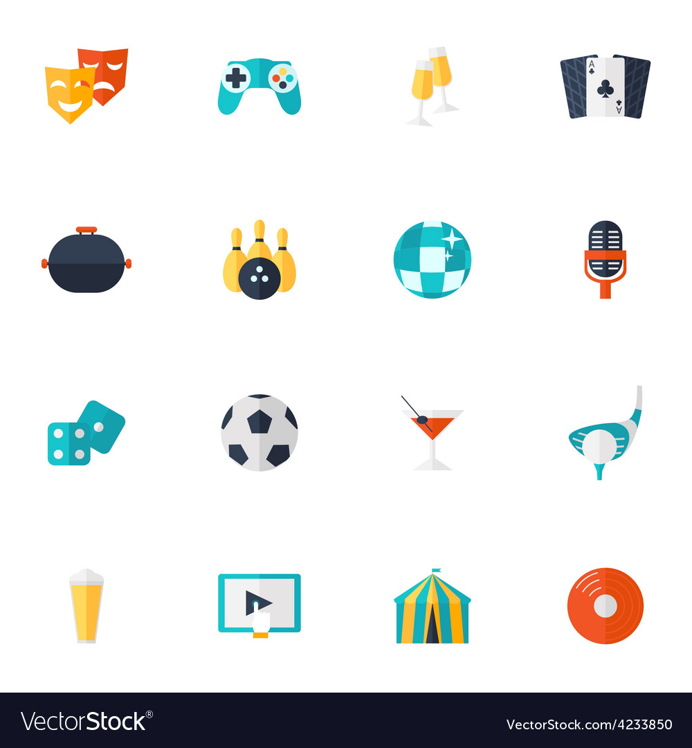 Entertainment icons flat set vector