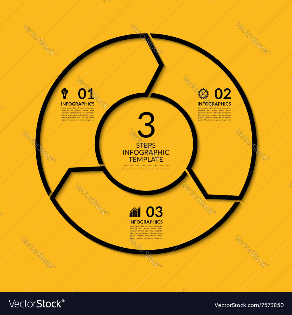 Infographic circle template with 3 steps vector
