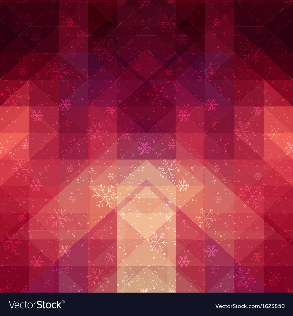 Red winter background with triangle texture vector