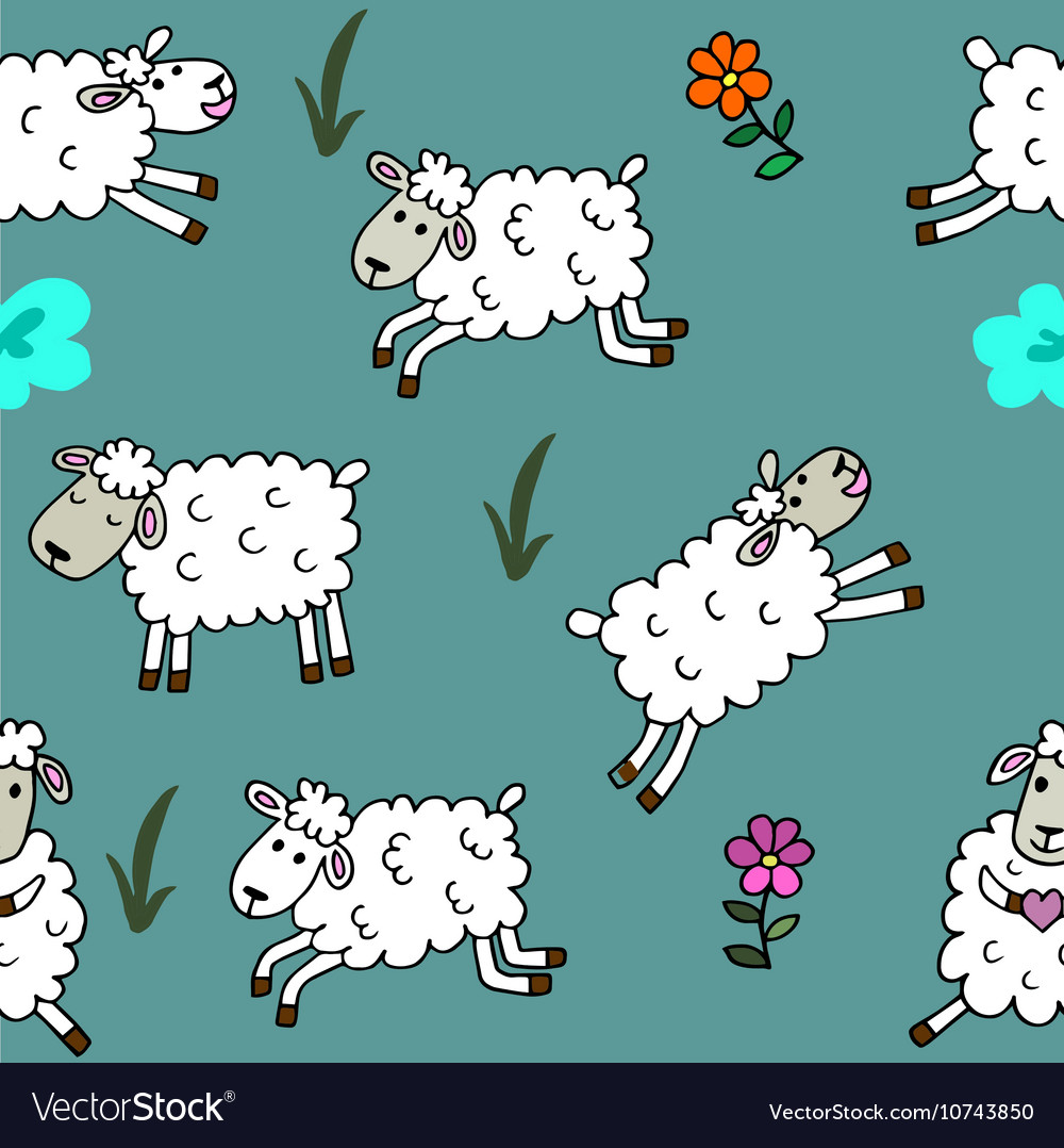 Seamless pattern with sheep colored for babyroom vector