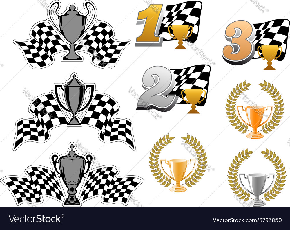 Set of motor sport and racing icons vector