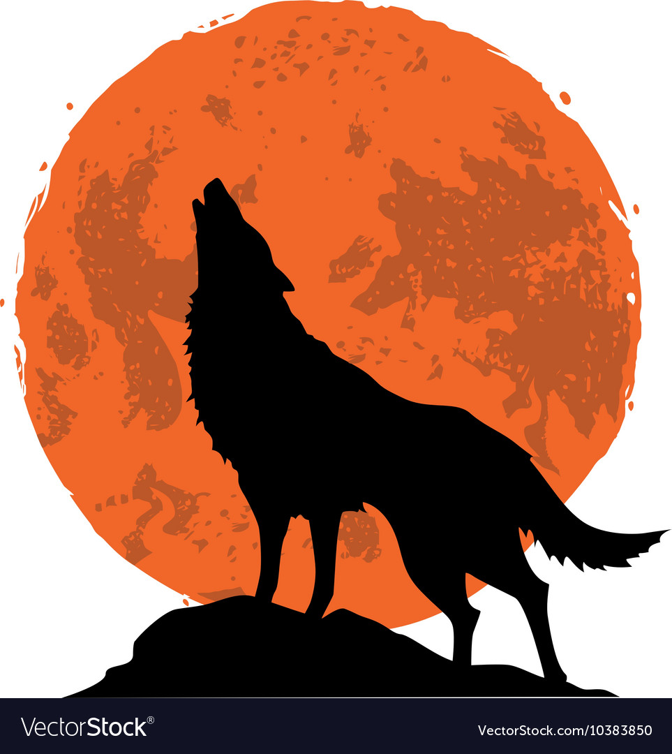 Wolf howling at the moon in the midnight vector