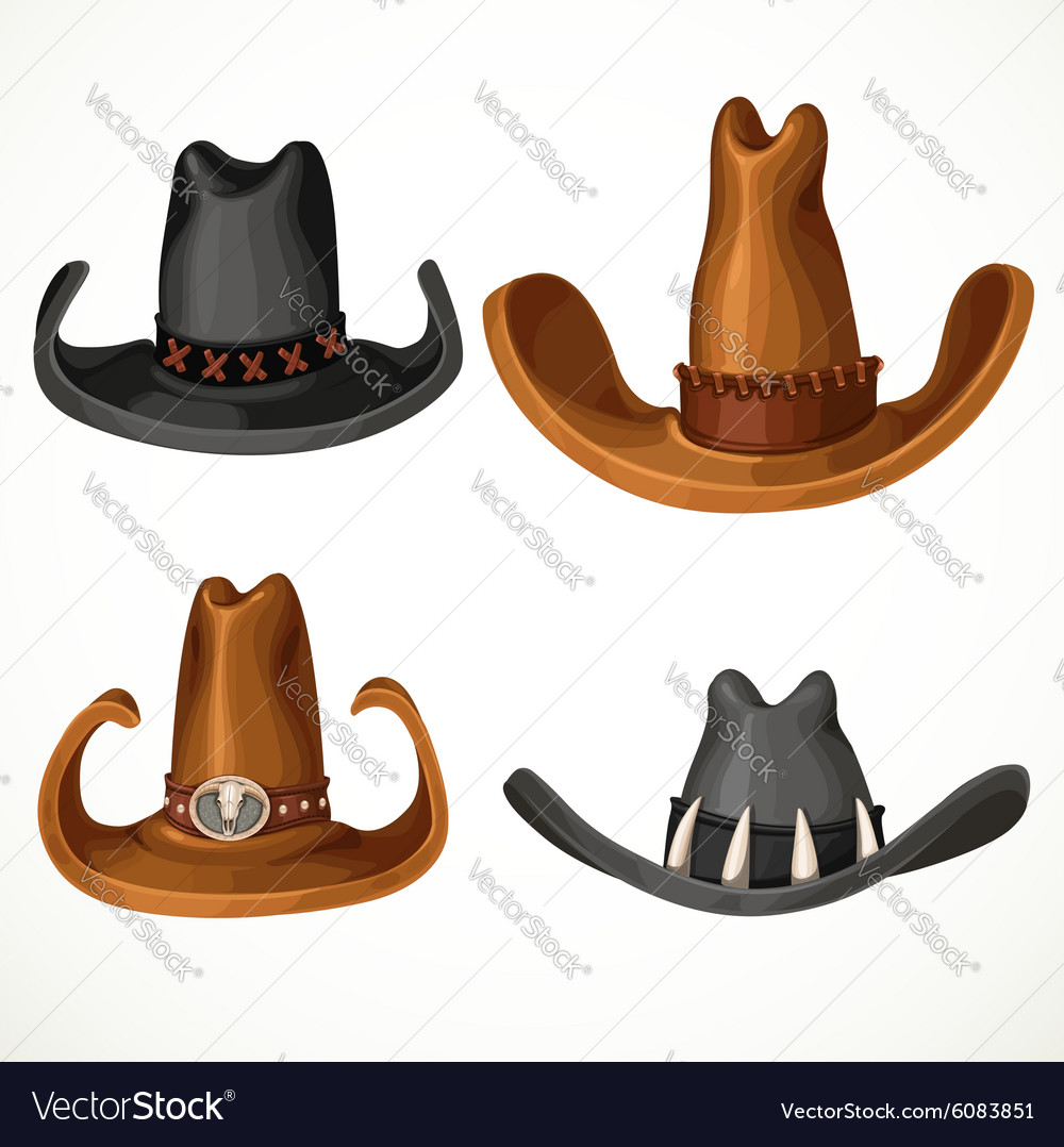 Cowboy hats set isolated on a white background vector