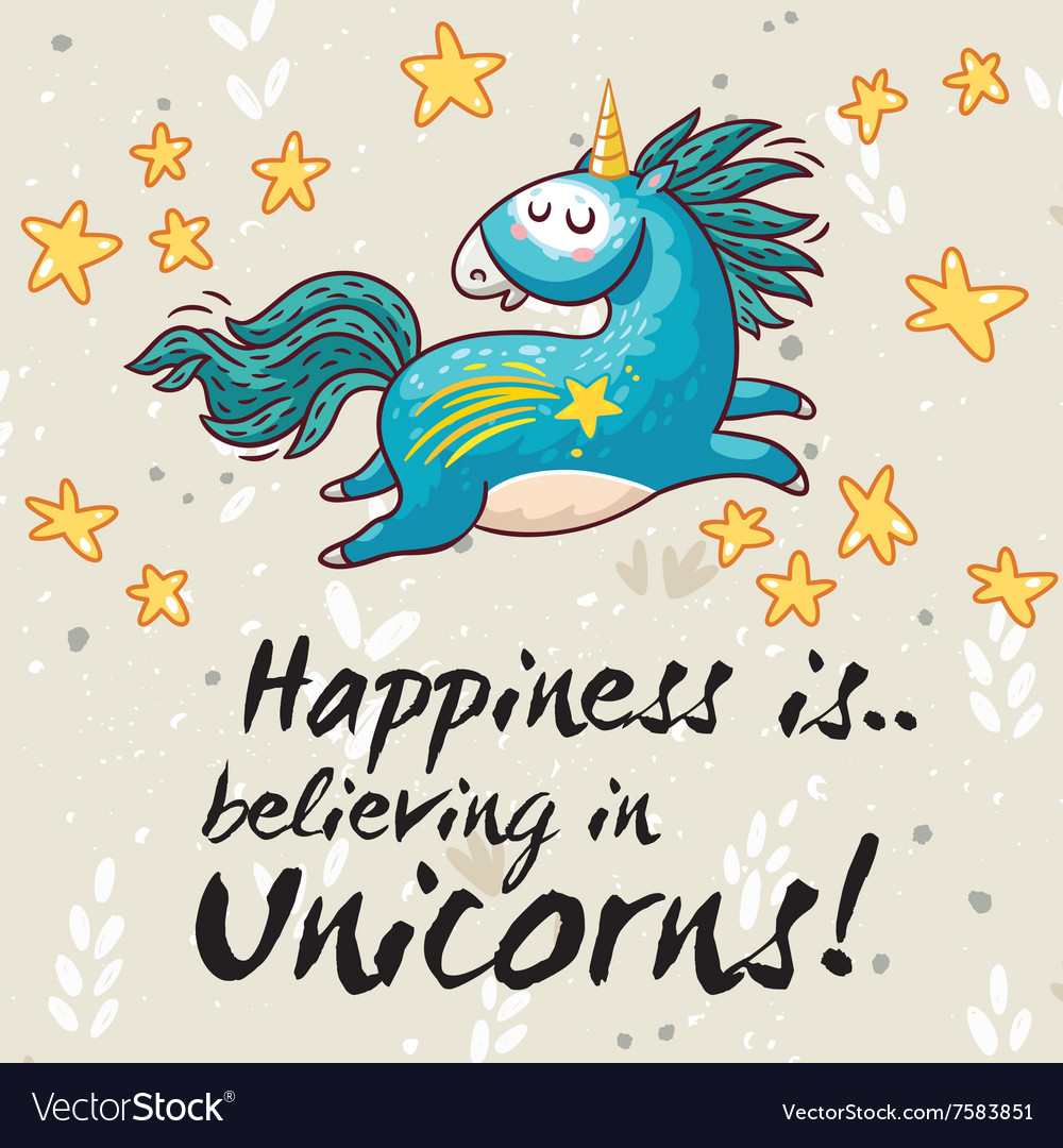 Happy card with cute unicorn cartoon vector