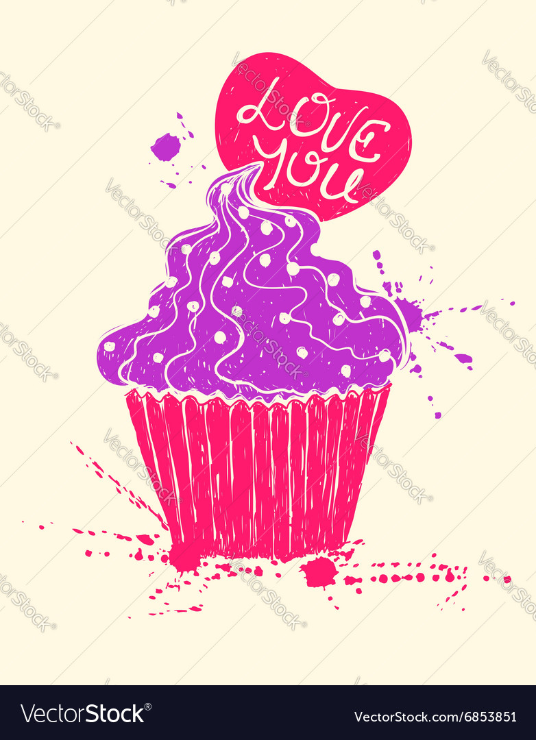 Silhouette of colorful cupcake with heart vector