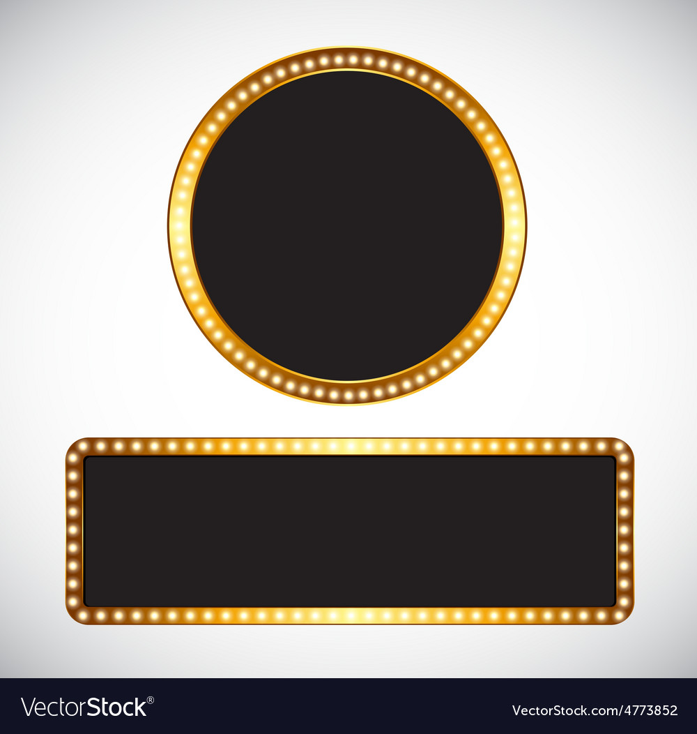 Gold frame template vector