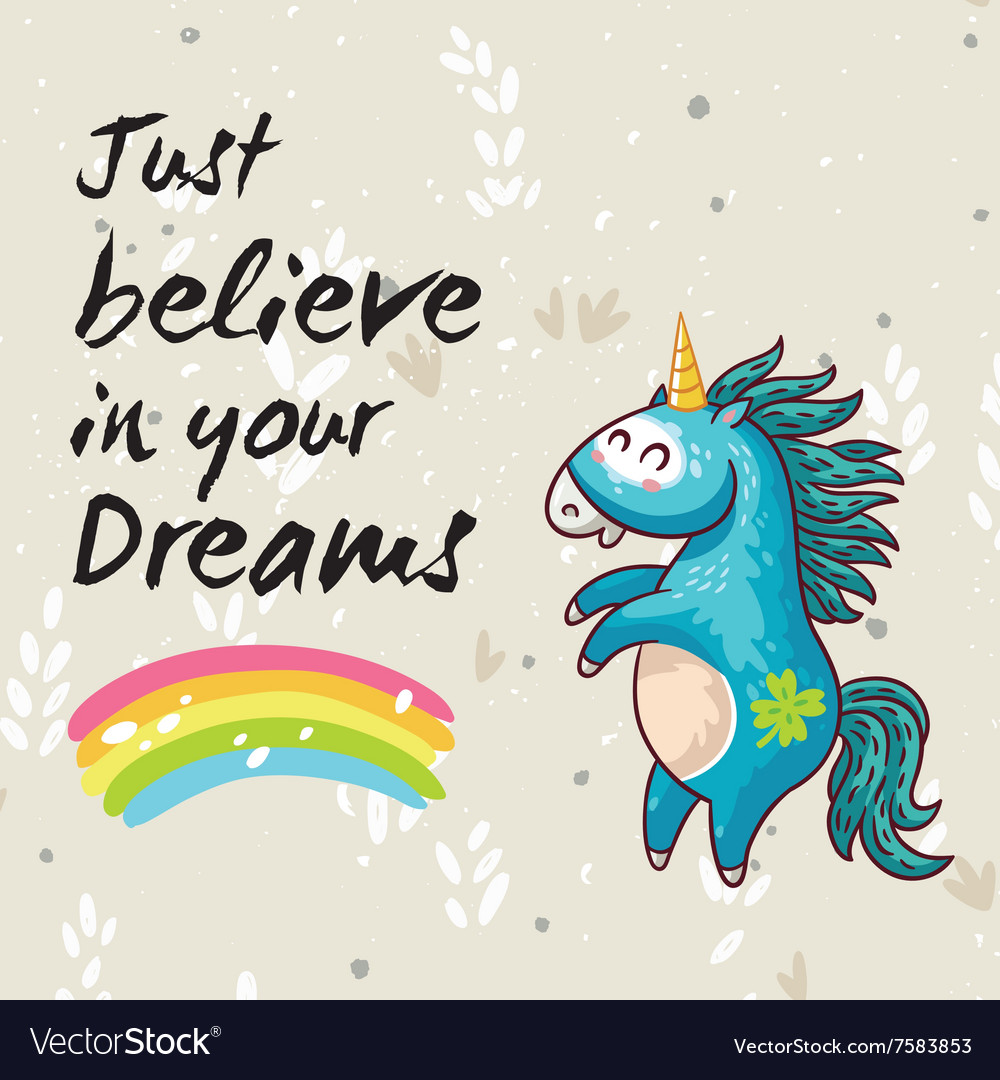 Dreams card with cute unicorn cartoon vector