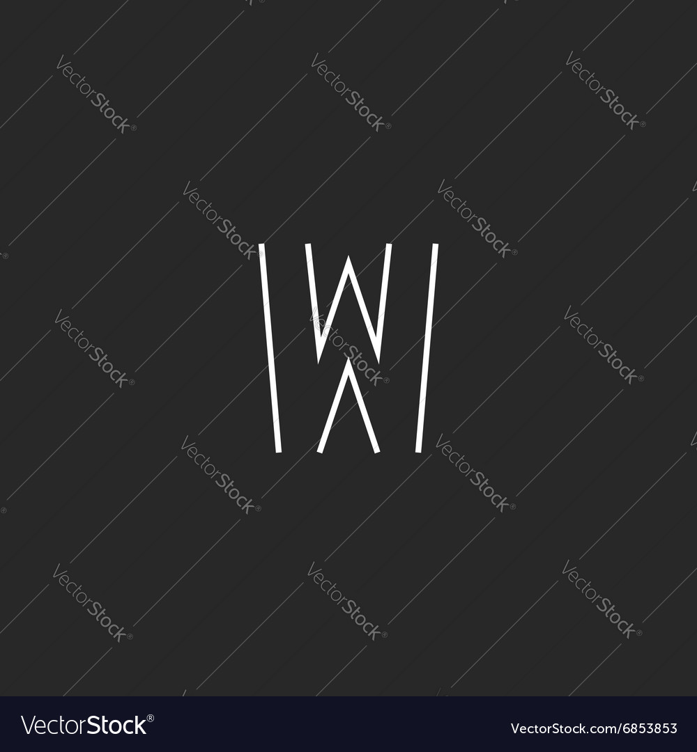 Mockup letter w logo monogram thin line black and vector