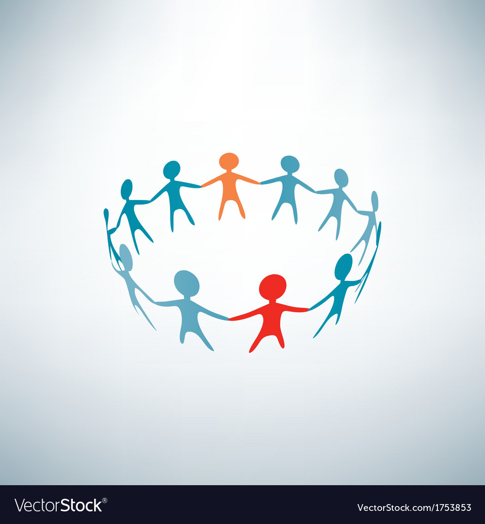 People joined in the ring business concept vector