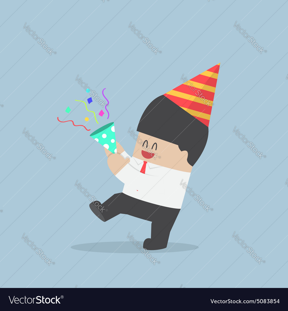 Businessman happy in celebration party vector