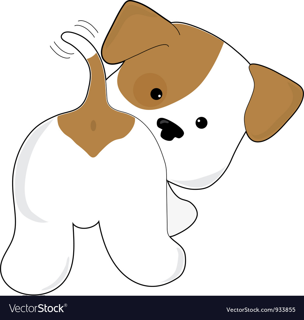 Cute puppy rear view vector