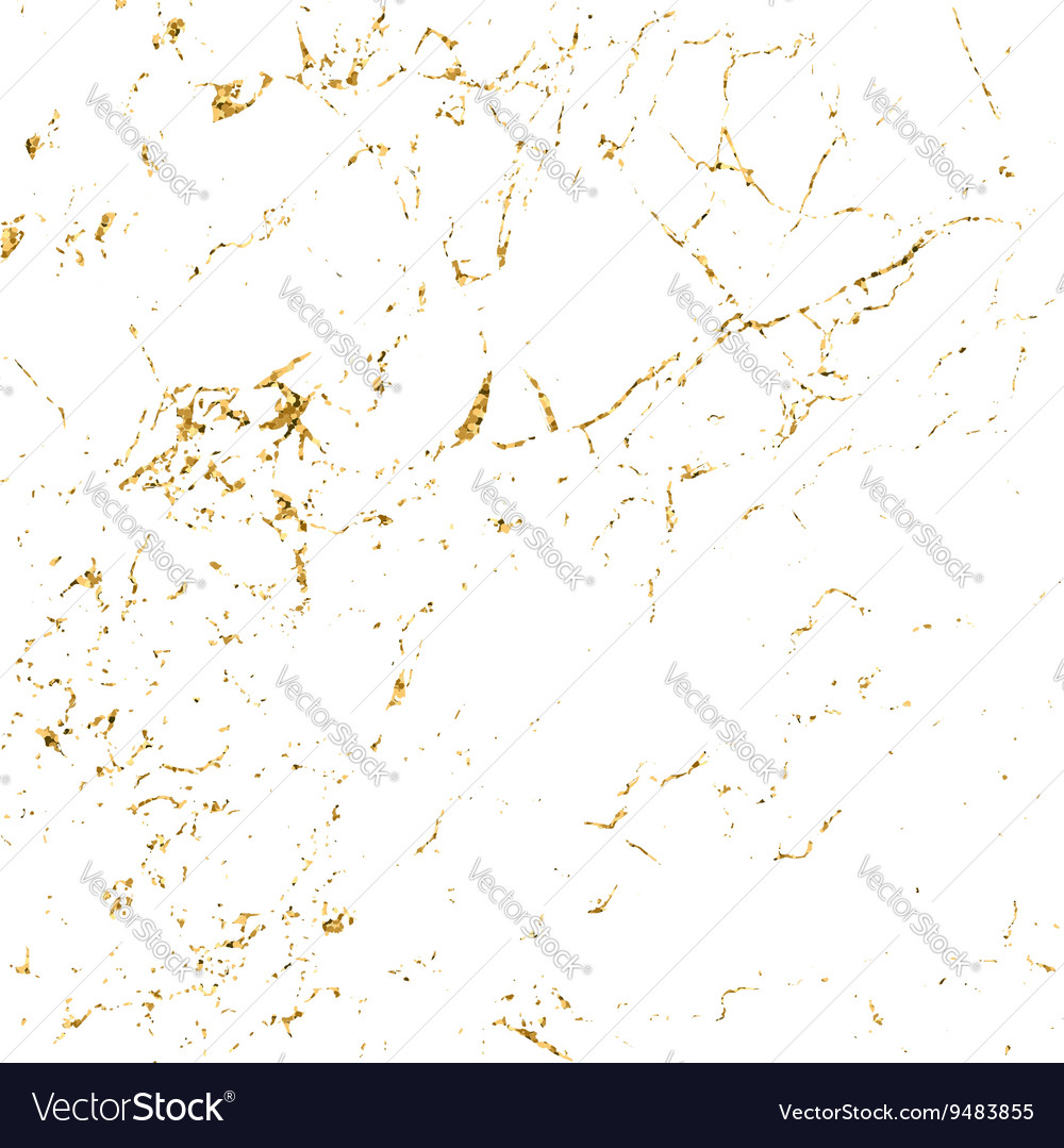 Grunge marble texture white gold vector