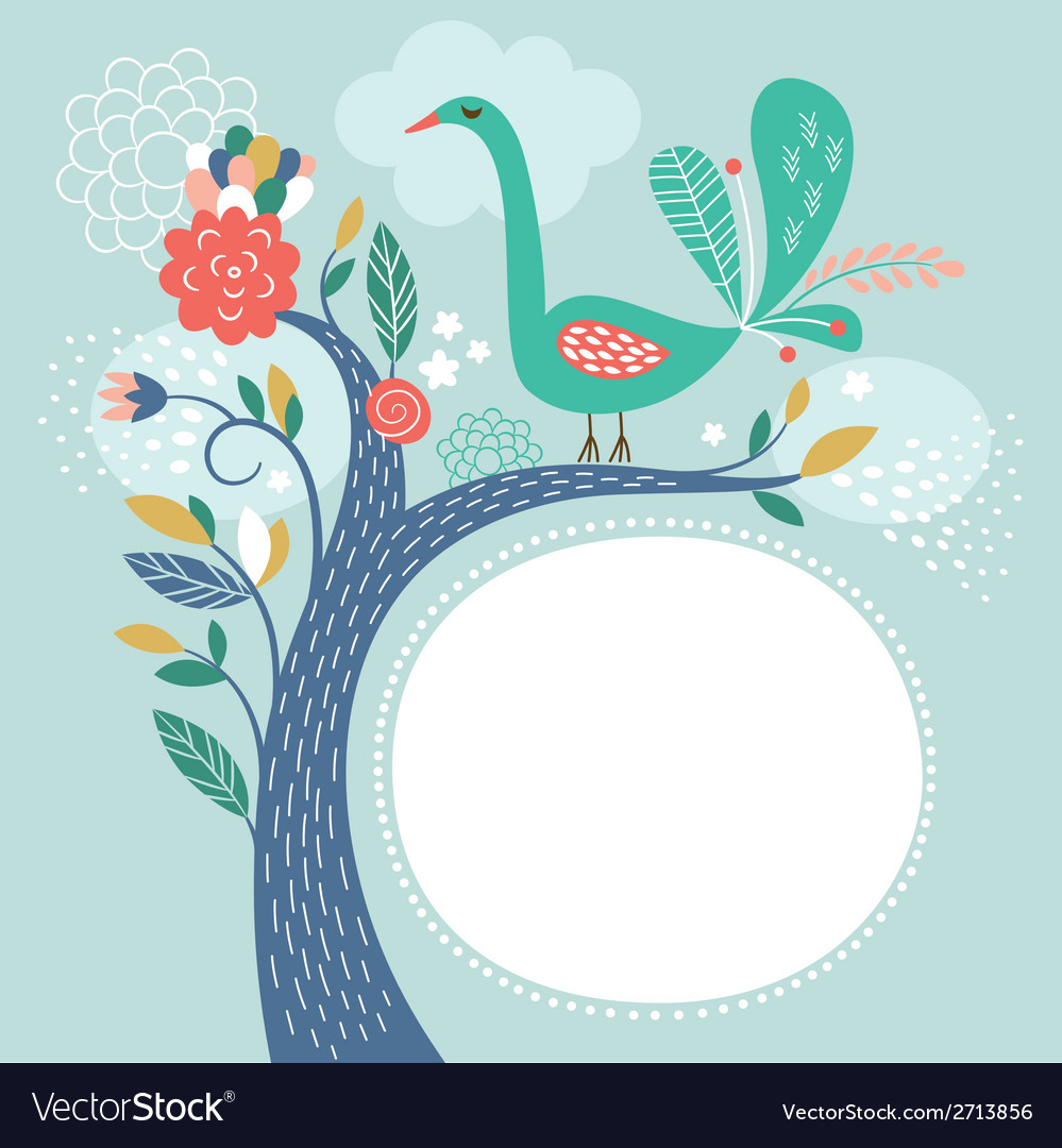Floral with bird greeting card vector