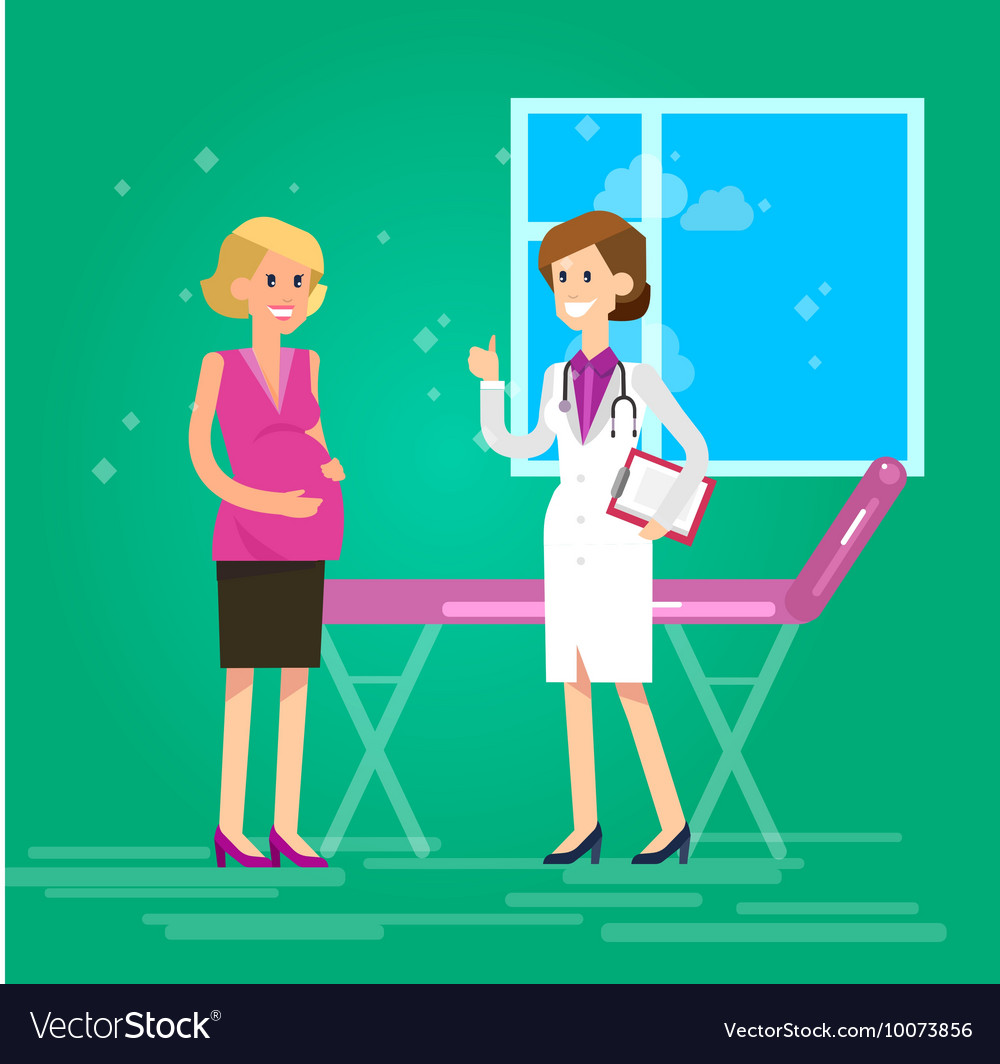 Happy pregnant woman having a doctor visit vector