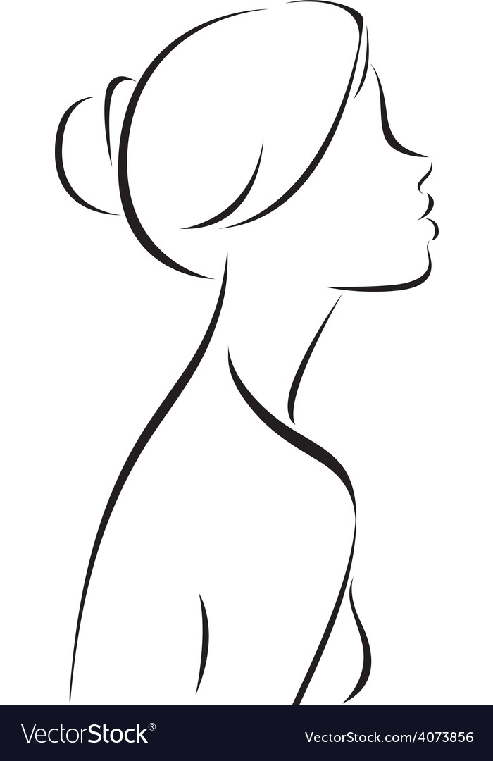 Line drawing of women profile vector