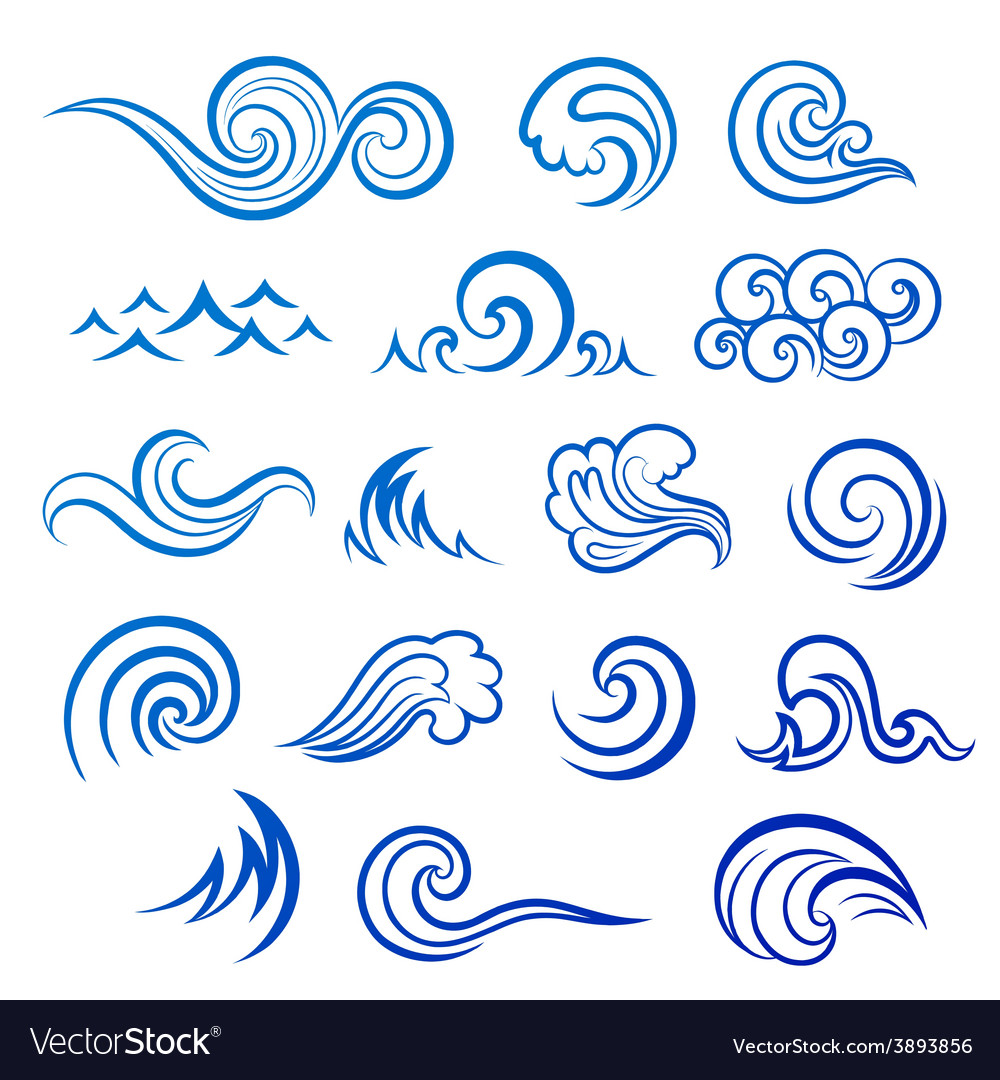 Set of isolated wave icons vector