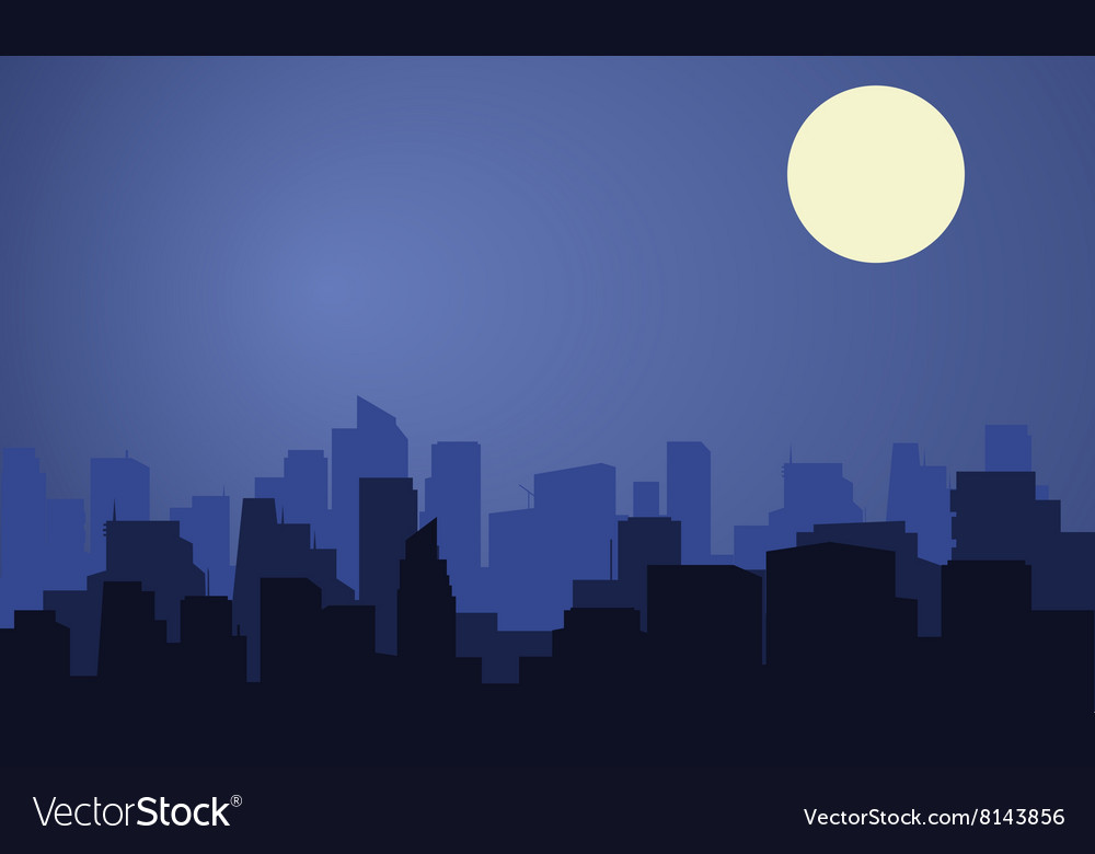 Silhouette of city with moon at the night vector