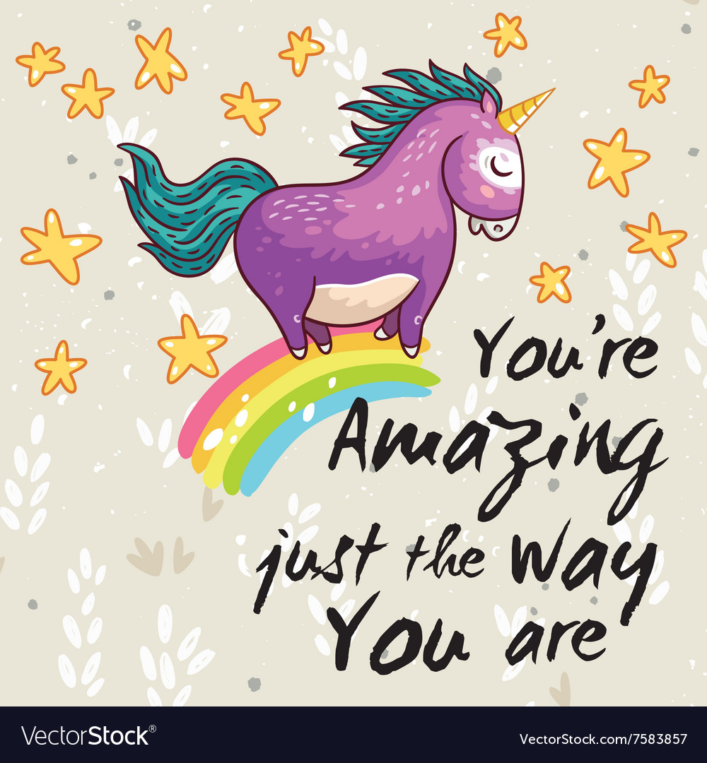 Amazing card with cute unicorn cartoon vector