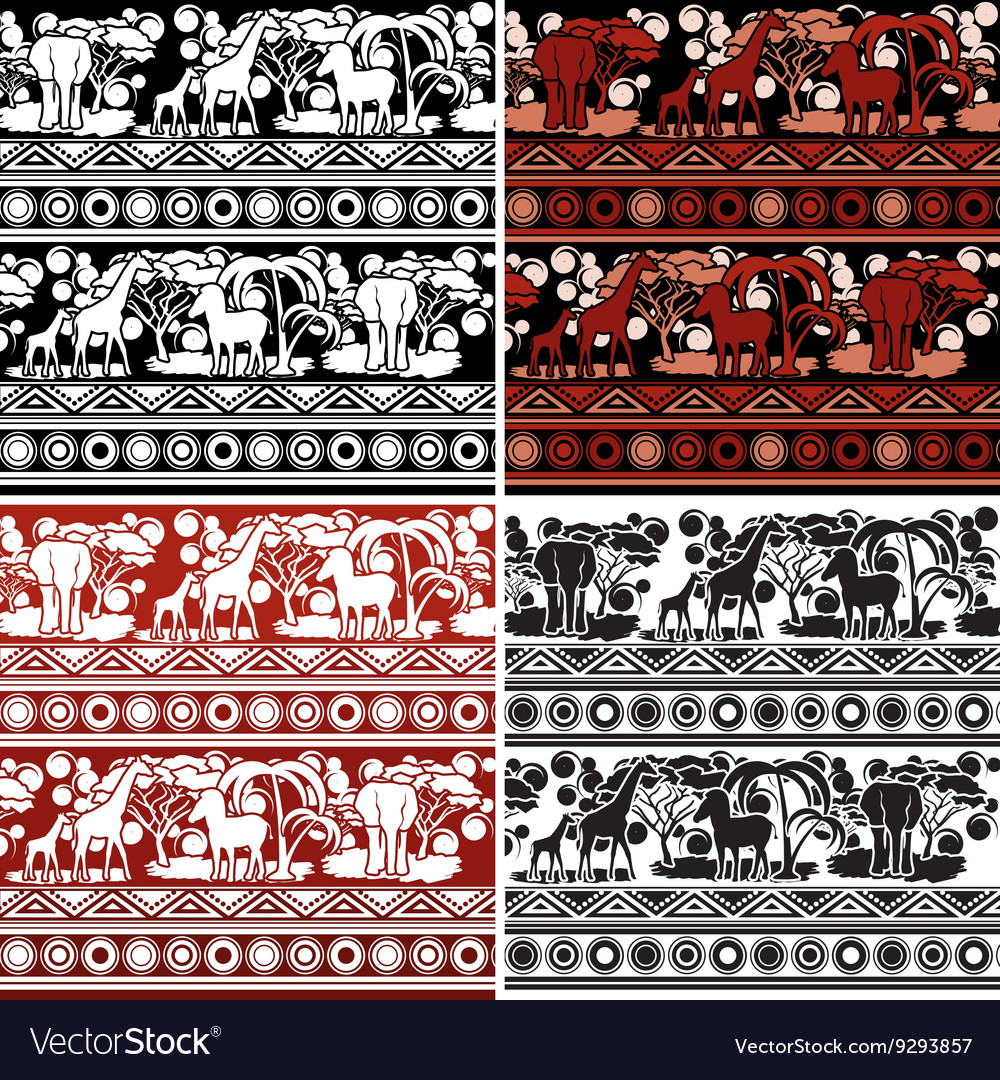 Set of patterns in african style vector