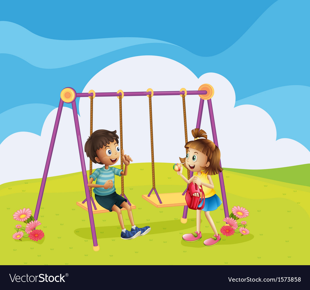 A boy and a girl at the playground vector