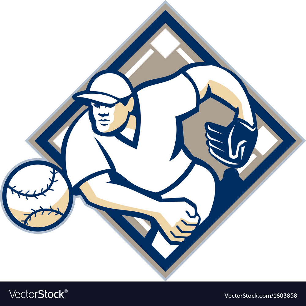 Baseball pitcher throwing ball diamond vector