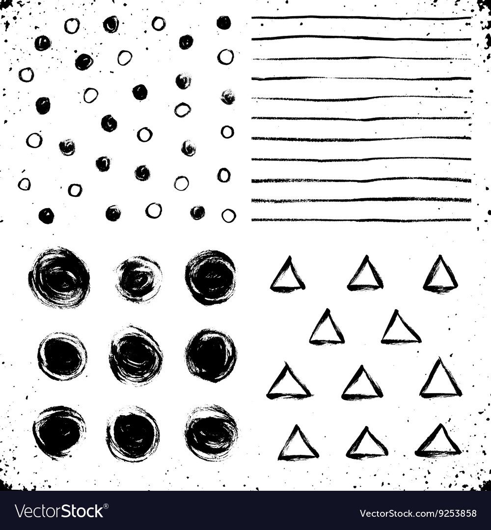 Dry brush textures set vector