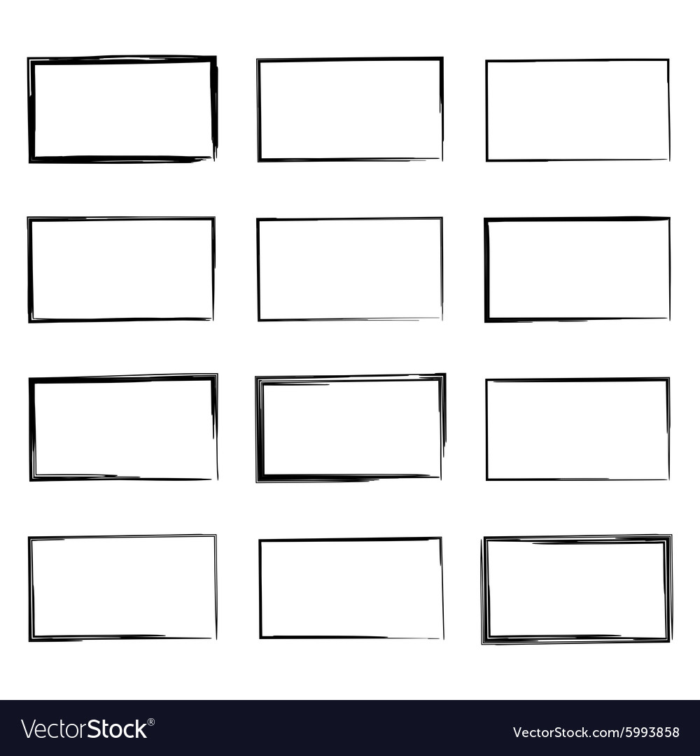 Set hand drawn square vector