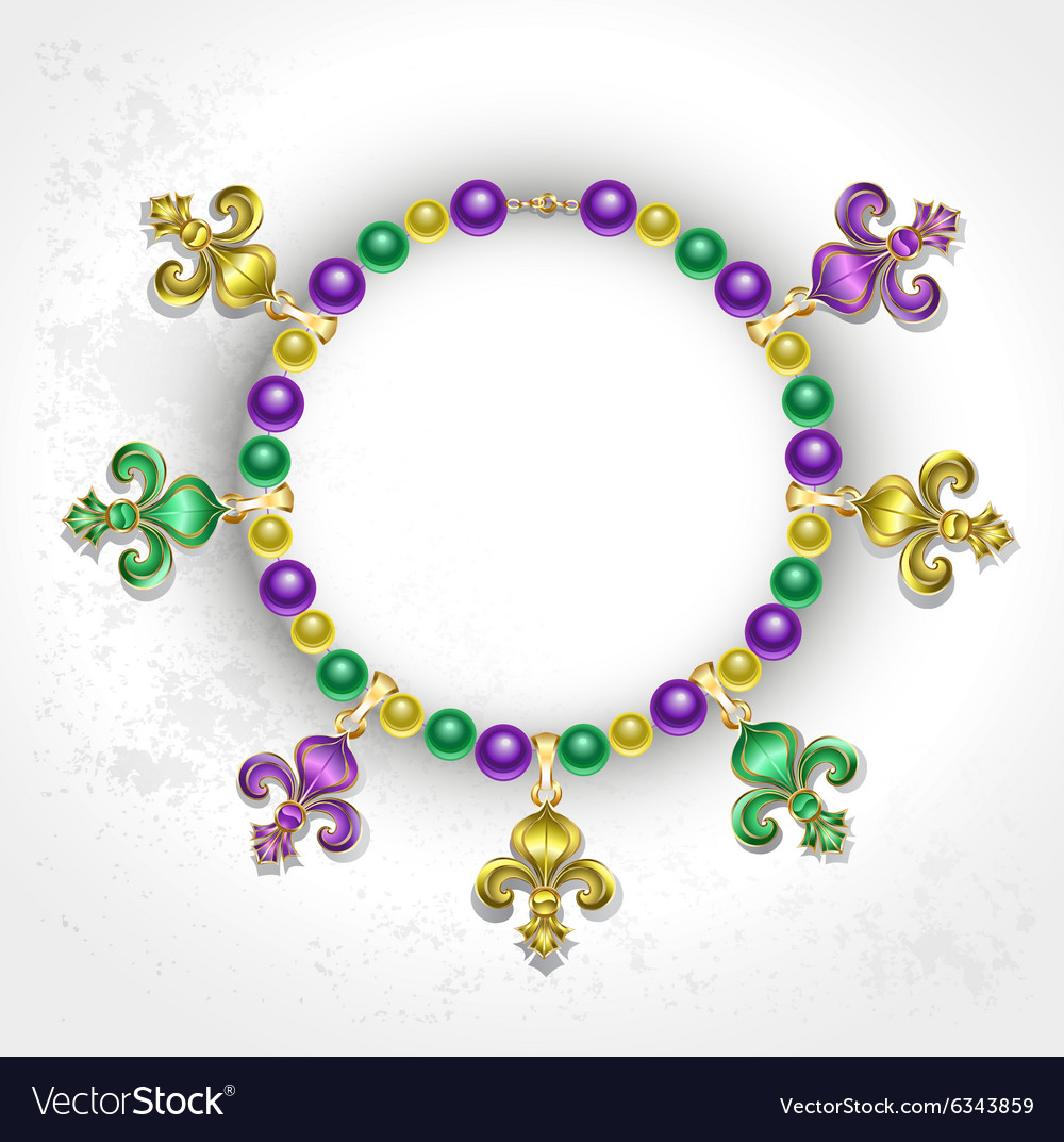 Necklace with fleur de lis vector