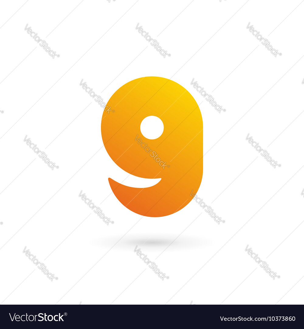 Letter g number 9 smile logo icon design template vector
