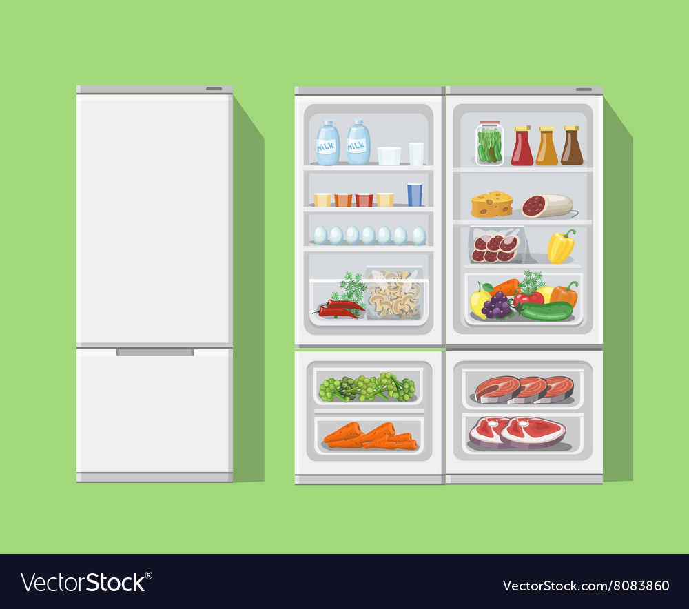 Refrigerator opened with food fridge open and vector