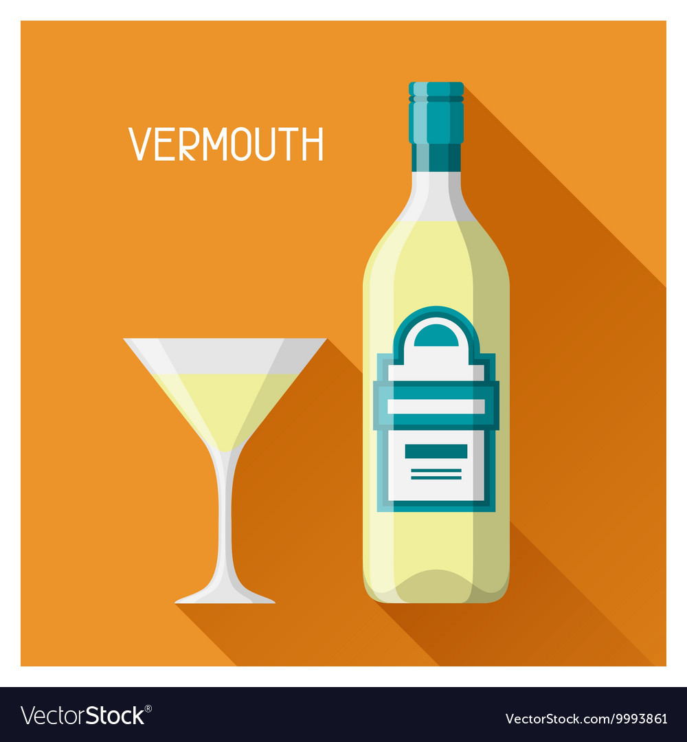 Bottle and glass of vermouth in flat design style vector
